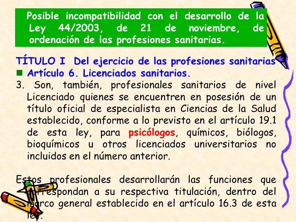 Posible incompatibilidad con el desarrollo de la Ley 44/2003, de 21 de noviembre, de ordenación de las profesiones sanitarias. TÍTULO I Del ejercicio