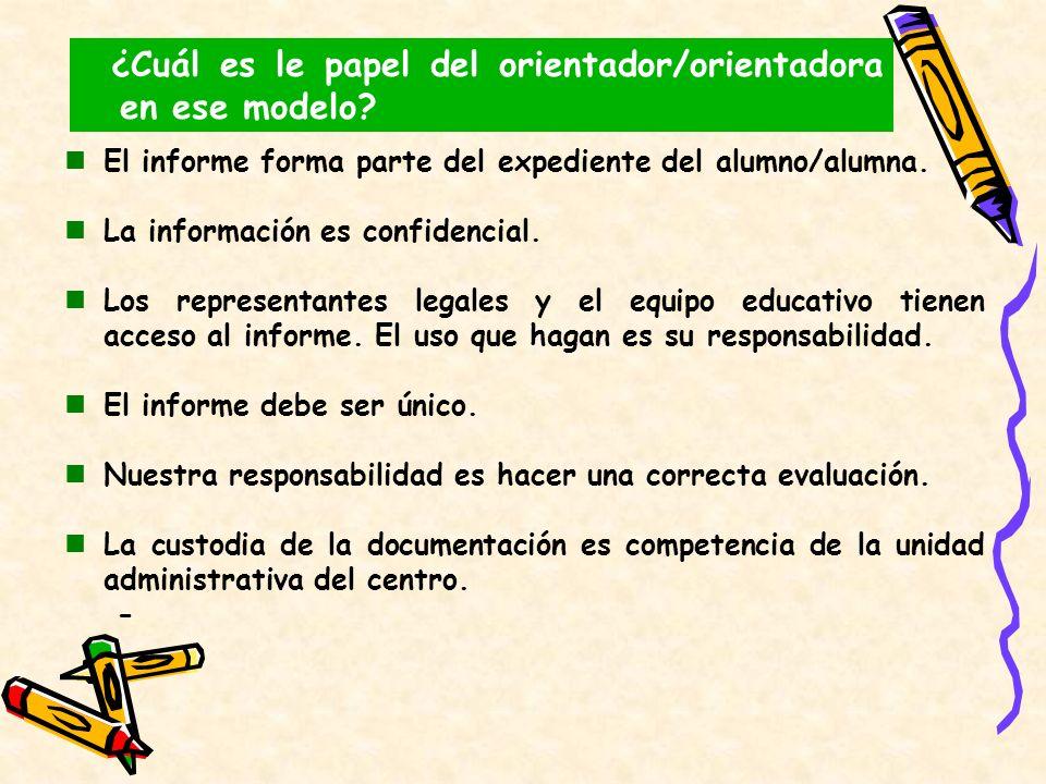El informe forma parte del expediente del alumno/alumna. La información es confidencial. Los representantes legales y el equipo educativo tienen acces