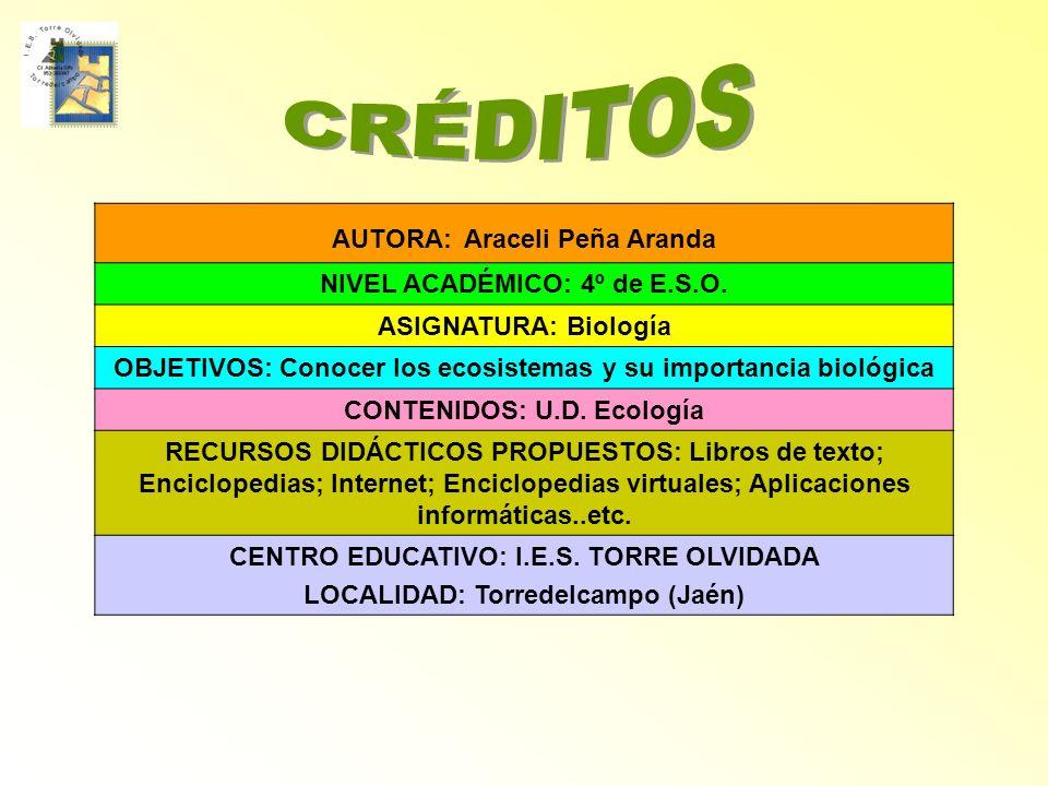 AUTORA: Araceli Peña Aranda NIVEL ACADÉMICO: 4º de E.S.O. ASIGNATURA: Biología OBJETIVOS: Conocer los ecosistemas y su importancia biológica CONTENIDO