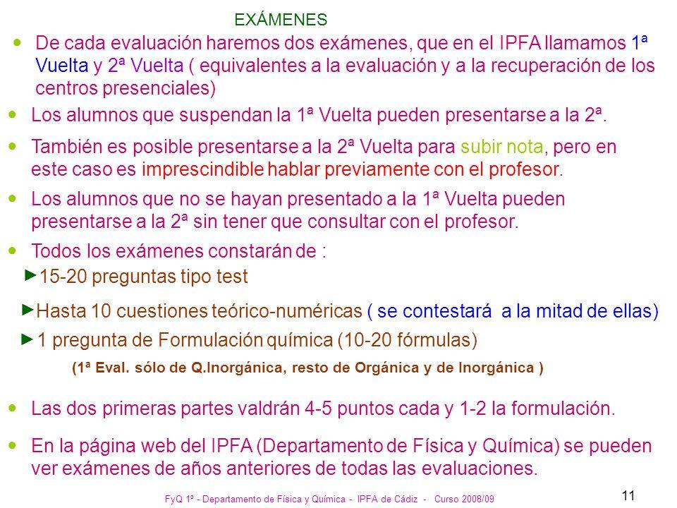 FyQ 1º - Departamento de Física y Química - IPFA de Cádiz - Curso 2008/09 11 EXÁMENES De cada evaluación haremos dos exámenes, que en el IPFA llamamos