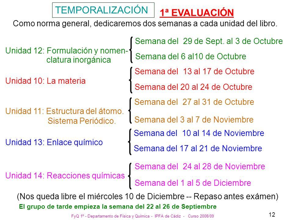 FyQ 1º - Departamento de Física y Química - IPFA de Cádiz - Curso 2008/09 12 TEMPORALIZACIÓN Como norma general, dedicaremos dos semanas a cada unidad