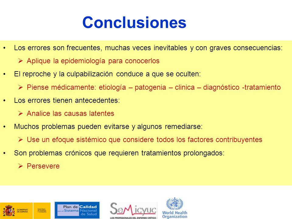 Conclusiones Los errores son frecuentes, muchas veces inevitables y con graves consecuencias: Aplique la epidemiología para conocerlos El reproche y l