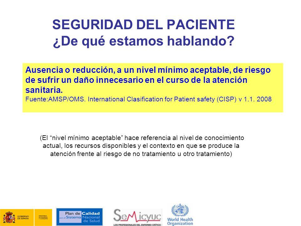 Ausencia o reducción, a un nivel mínimo aceptable, de riesgo de sufrir un daño innecesario en el curso de la atención sanitaria. Fuente:AMSP/OMS. Inte