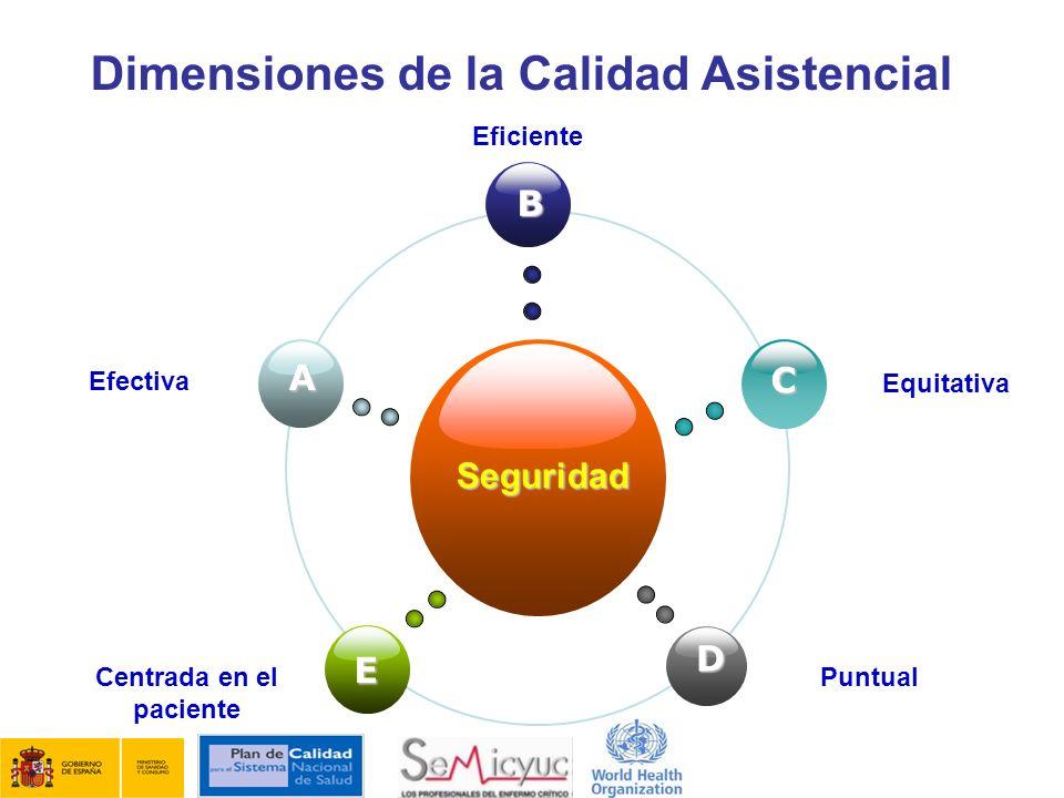 Dimensiones de la Calidad Asistencial Seguridad B E C D A Efectiva Eficiente Equitativa Centrada en el paciente Puntual