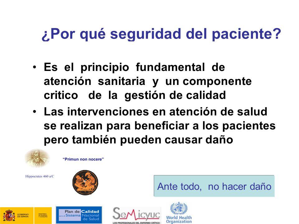 ¿Por qué seguridad del paciente? Es el principio fundamental de atención sanitaria y un componente critico de la gestión de calidad Las intervenciones