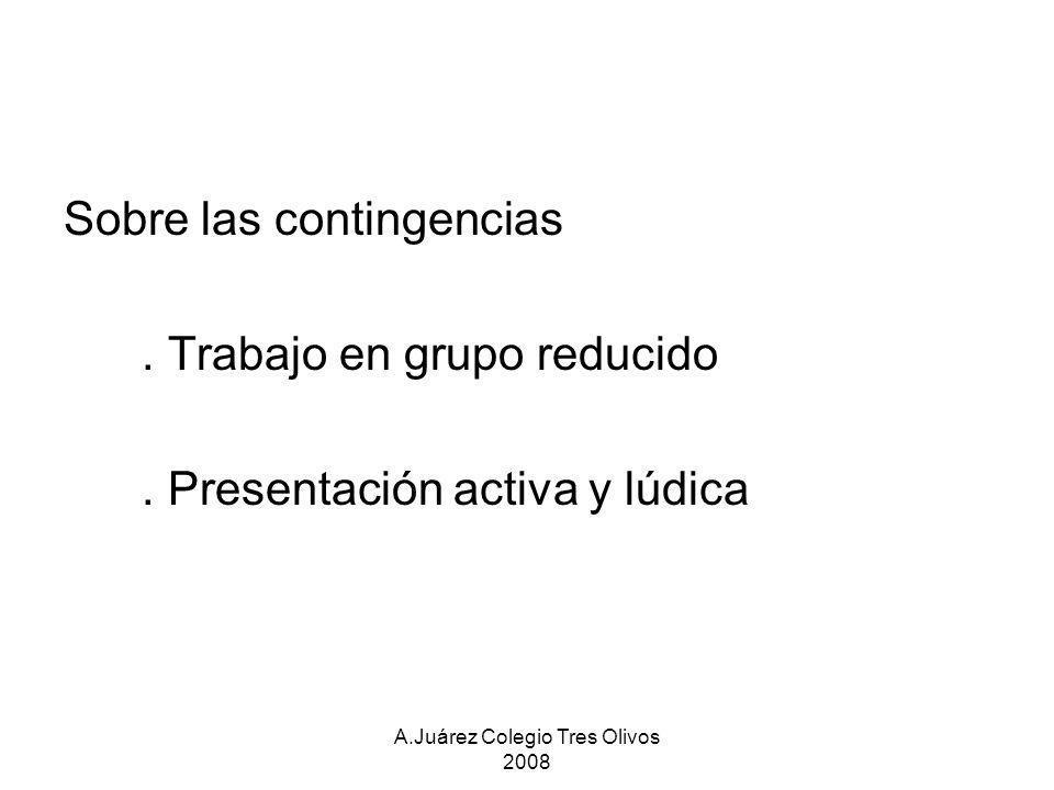 A.Juárez Colegio Tres Olivos 2008 Sobre las contingencias. Trabajo en grupo reducido. Presentación activa y lúdica