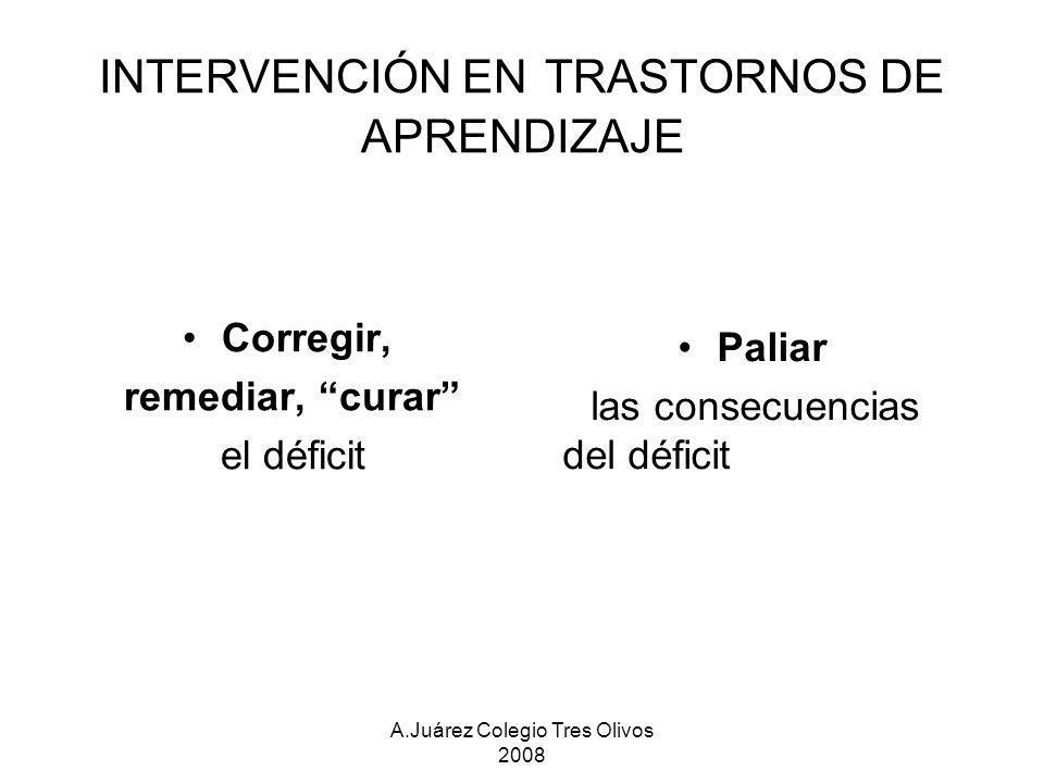 A.Juárez Colegio Tres Olivos 2008 INTERVENCIÓN EN TRASTORNOS DE APRENDIZAJE Corregir, remediar, curar el déficit Paliar las consecuencias del déficit