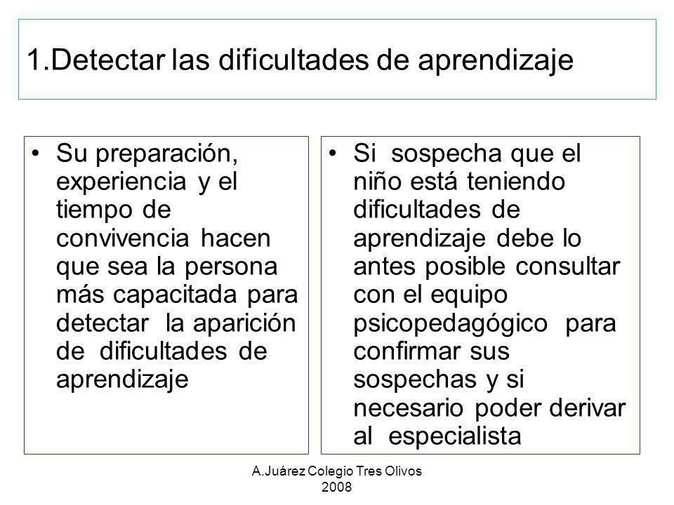 A.Juárez Colegio Tres Olivos 2008 1.Detectar las dificultades de aprendizaje Su preparación, experiencia y el tiempo de convivencia hacen que sea la p
