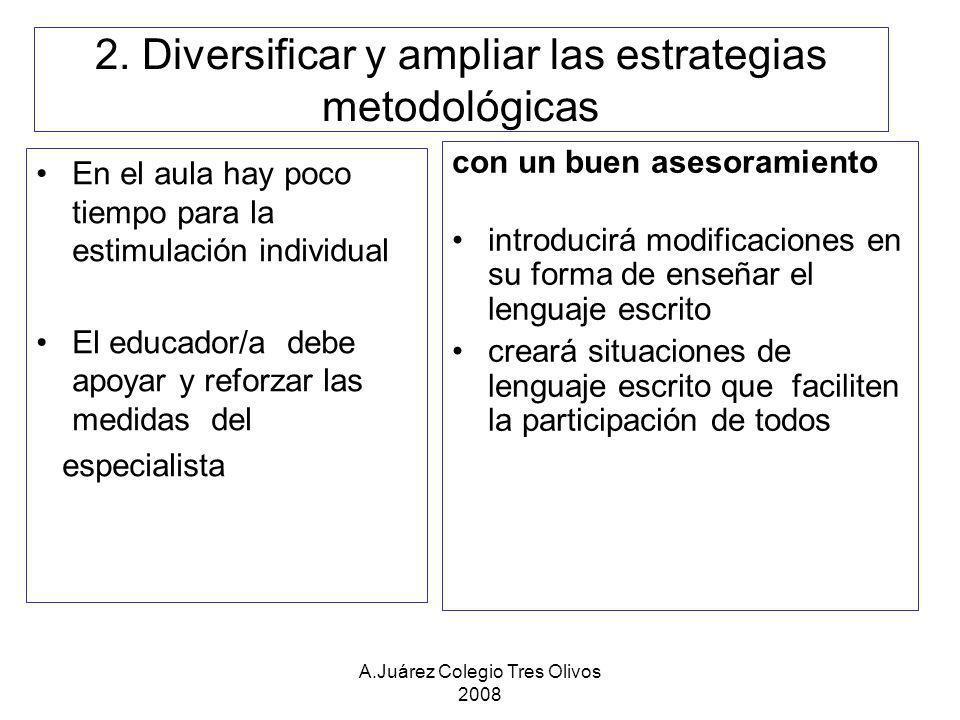 A.Juárez Colegio Tres Olivos 2008 2. Diversificar y ampliar las estrategias metodológicas En el aula hay poco tiempo para la estimulación individual E