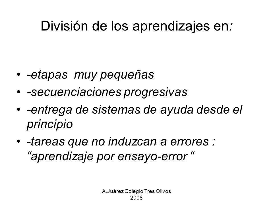 A.Juárez Colegio Tres Olivos 2008 División de los aprendizajes en: -etapas muy pequeñas -secuenciaciones progresivas -entrega de sistemas de ayuda des
