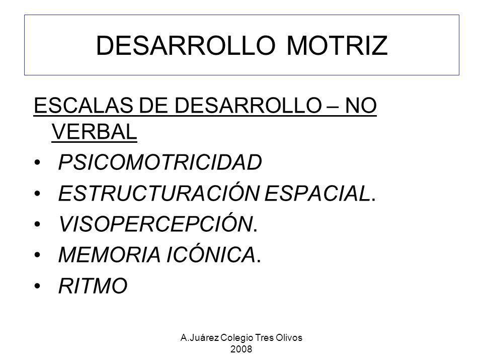 A.Juárez Colegio Tres Olivos 2008 ESCALAS DE DESARROLLO – NO VERBAL PSICOMOTRICIDAD ESTRUCTURACIÓN ESPACIAL. VISOPERCEPCIÓN. MEMORIA ICÓNICA. RITMO DE