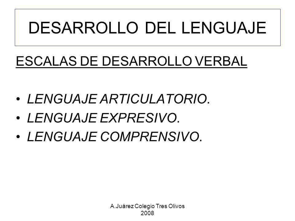 A.Juárez Colegio Tres Olivos 2008 DESARROLLO DEL LENGUAJE ESCALAS DE DESARROLLO VERBAL LENGUAJE ARTICULATORIO. LENGUAJE EXPRESIVO. LENGUAJE COMPRENSIV