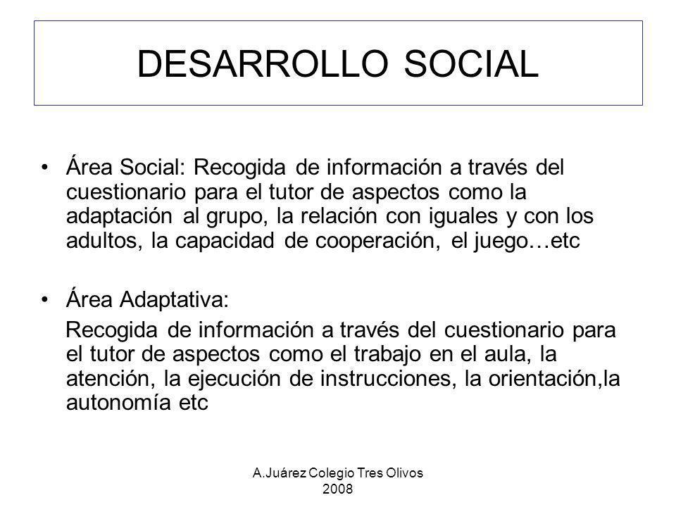 A.Juárez Colegio Tres Olivos 2008 DESARROLLO SOCIAL Área Social: Recogida de información a través del cuestionario para el tutor de aspectos como la a