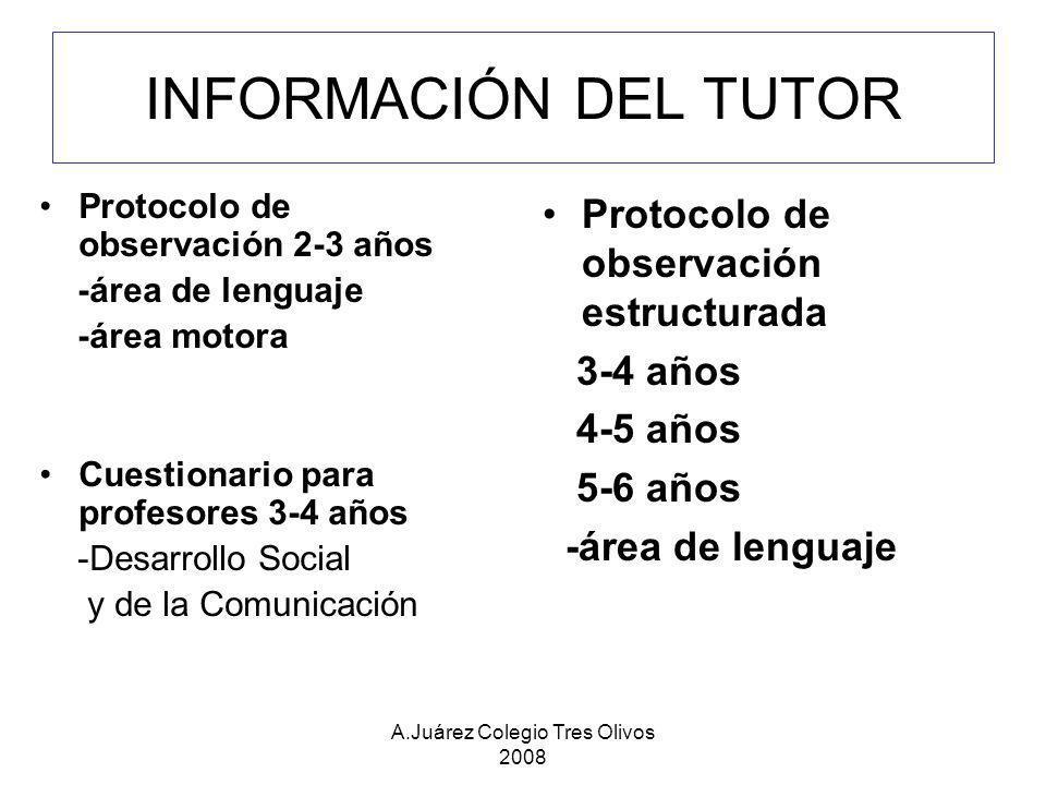 A.Juárez Colegio Tres Olivos 2008 INFORMACIÓN DEL TUTOR Protocolo de observación 2-3 años -área de lenguaje -área motora Cuestionario para profesores