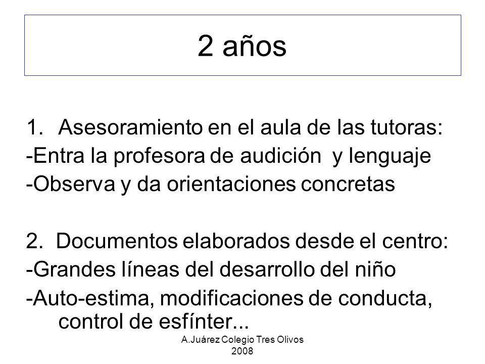 A.Juárez Colegio Tres Olivos 2008 2 años 1.Asesoramiento en el aula de las tutoras: -Entra la profesora de audición y lenguaje -Observa y da orientaci
