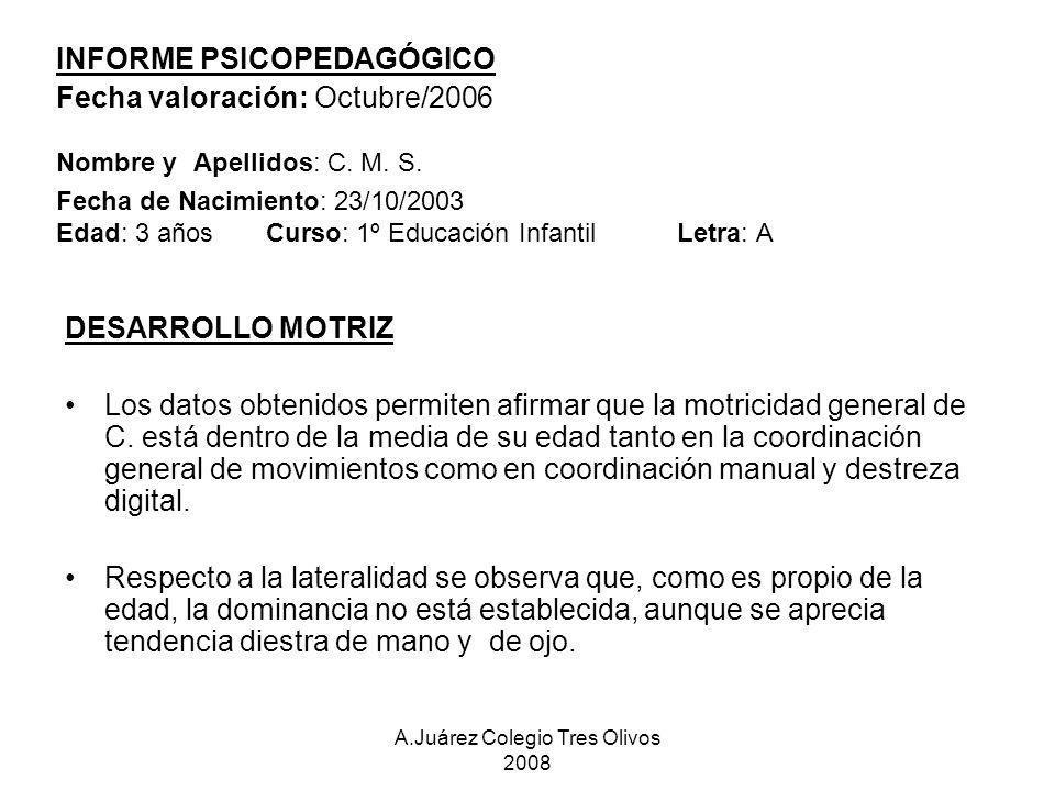 A.Juárez Colegio Tres Olivos 2008 INFORME PSICOPEDAGÓGICO Fecha valoración: Octubre/2006 Nombre y Apellidos: C. M. S. Fecha de Nacimiento: 23/10/2003