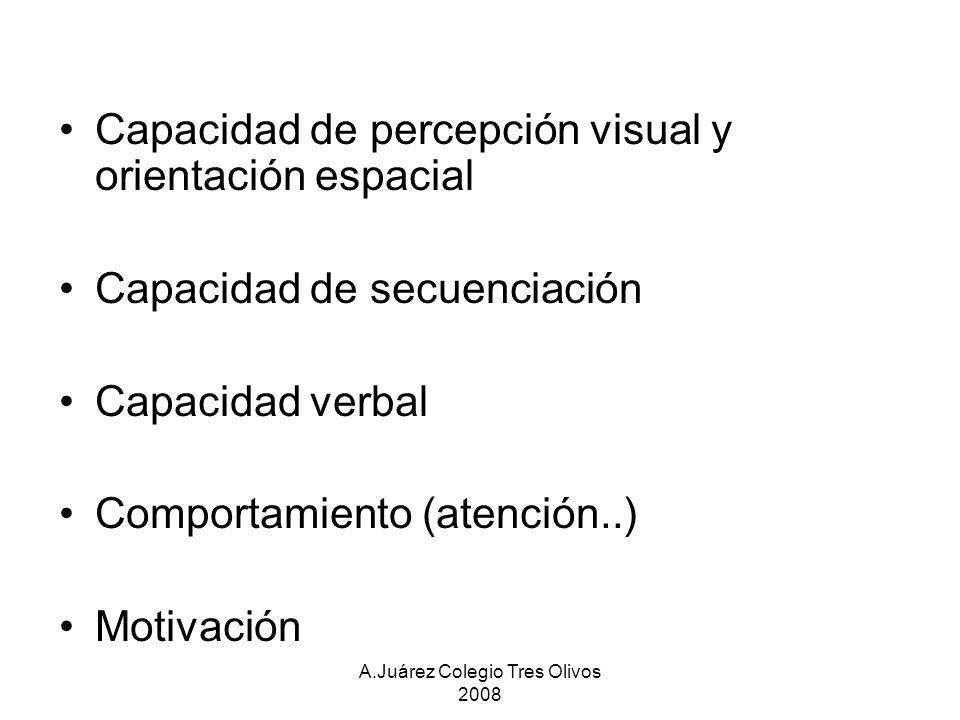 A.Juárez Colegio Tres Olivos 2008 Capacidad de percepción visual y orientación espacial Capacidad de secuenciación Capacidad verbal Comportamiento (at