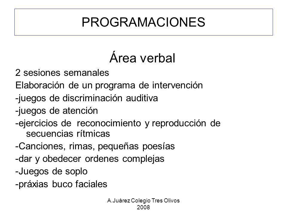 A.Juárez Colegio Tres Olivos 2008 PROGRAMACIONES Área verbal 2 sesiones semanales Elaboración de un programa de intervención -juegos de discriminación