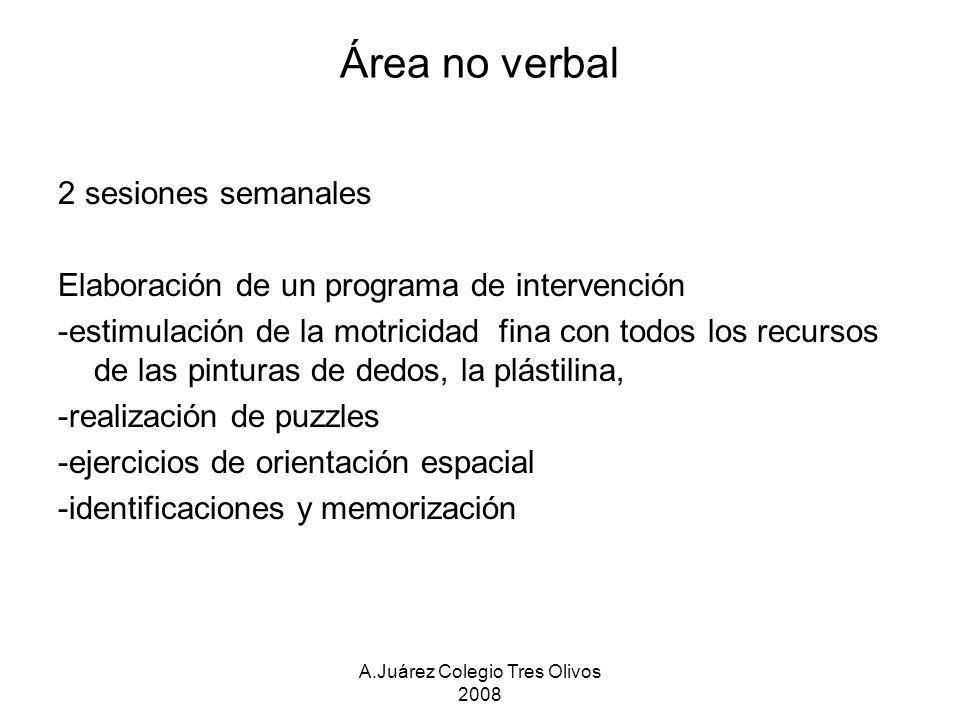 A.Juárez Colegio Tres Olivos 2008 Área no verbal 2 sesiones semanales Elaboración de un programa de intervención -estimulación de la motricidad fina c