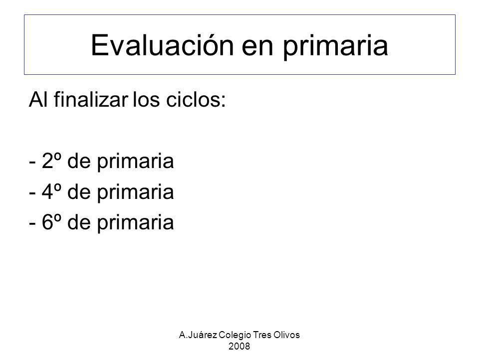 A.Juárez Colegio Tres Olivos 2008 Evaluación en primaria Al finalizar los ciclos: - 2º de primaria - 4º de primaria - 6º de primaria