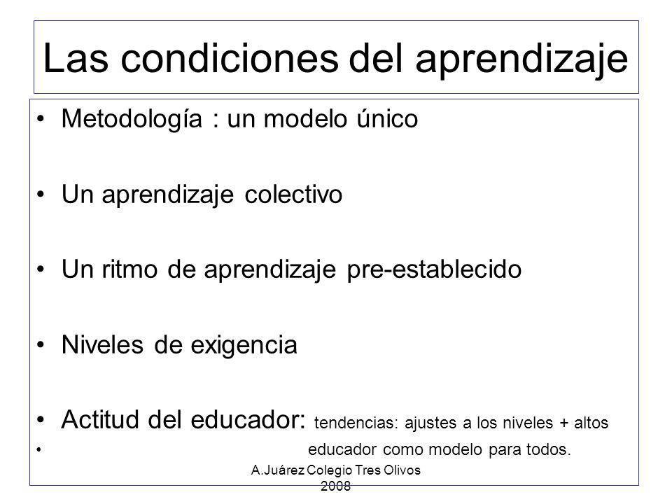 A.Juárez Colegio Tres Olivos 2008 Todo aprendizaje está ligado a La capacidad del alumno Las dificultades de la falta de capacidad del alumno Las condiciones del aprendizaje derivan por eso y de la inadaptación del sistema de enseñanza