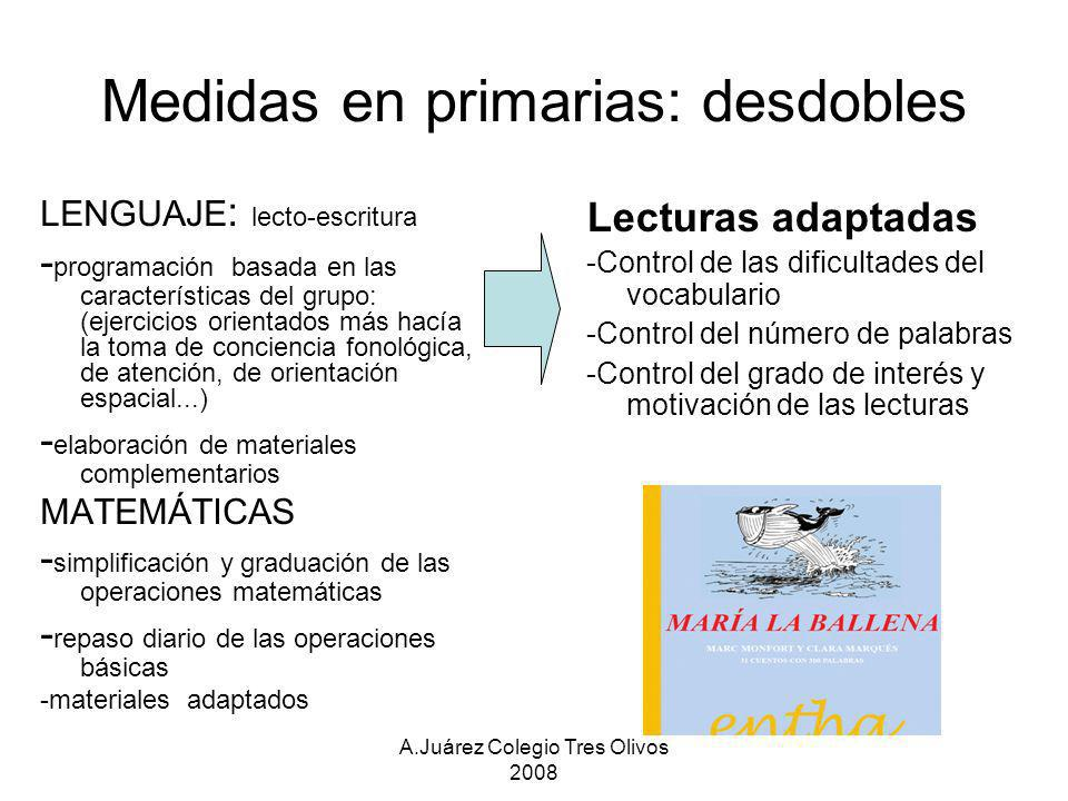 A.Juárez Colegio Tres Olivos 2008 Medidas en primarias: desdobles LENGUAJE : lecto-escritura - programación basada en las características del grupo: (