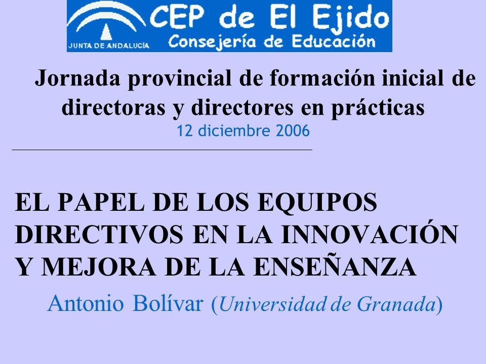 Jornada provincial de formación inicial de directoras y directores en prácticas 12 diciembre 2006 EL PAPEL DE LOS EQUIPOS DIRECTIVOS EN LA INNOVACIÓN