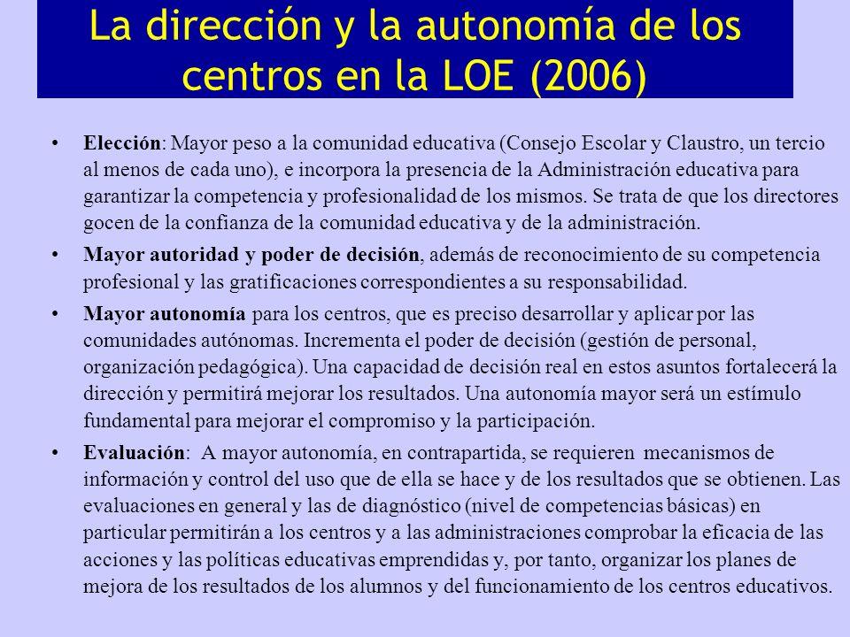 La dirección y la autonomía de los centros en la LOE (2006) Elección: Mayor peso a la comunidad educativa (Consejo Escolar y Claustro, un tercio al me