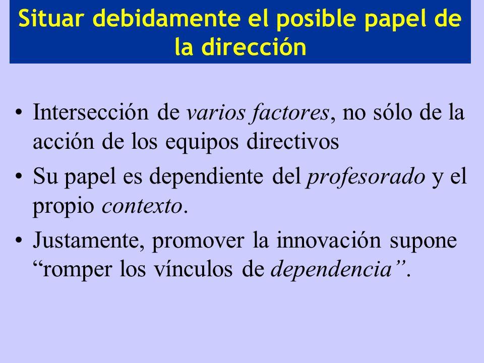 Situar debidamente el posible papel de la dirección Intersección de varios factores, no sólo de la acción de los equipos directivos Su papel es depend