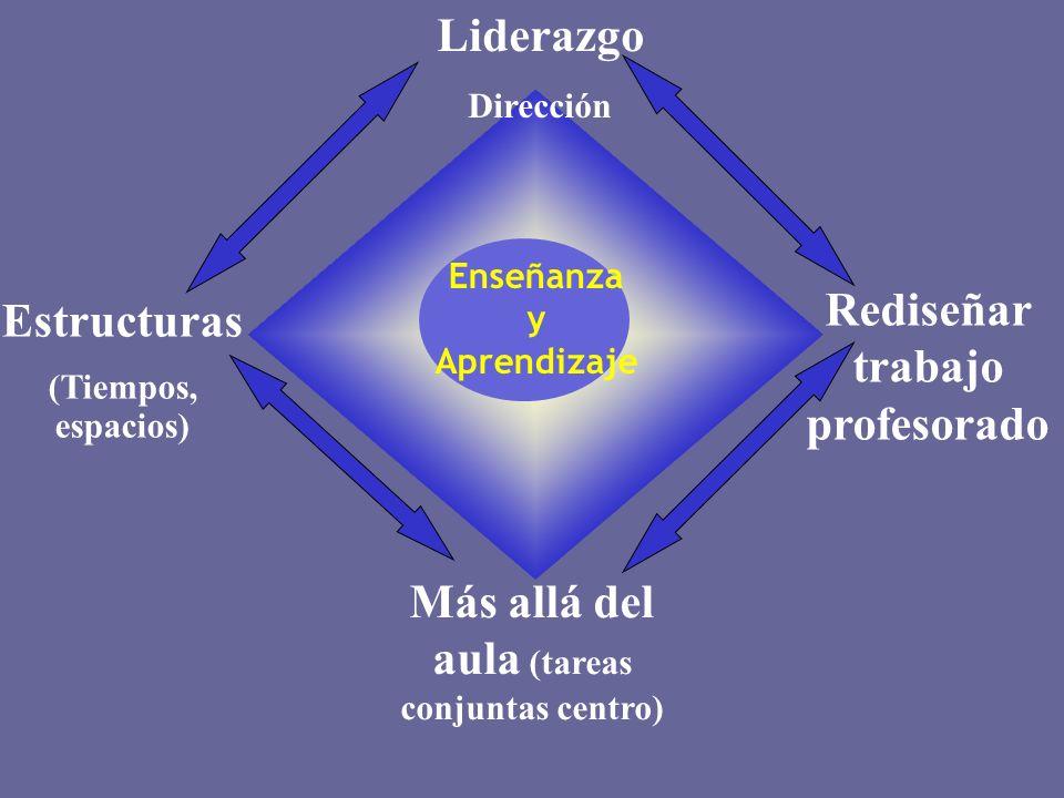 Más allá del aula (tareas conjuntas centro) Rediseñar trabajo profesorado Liderazgo Dirección Estructuras (Tiempos, espacios) Enseñanza y Aprendizaje