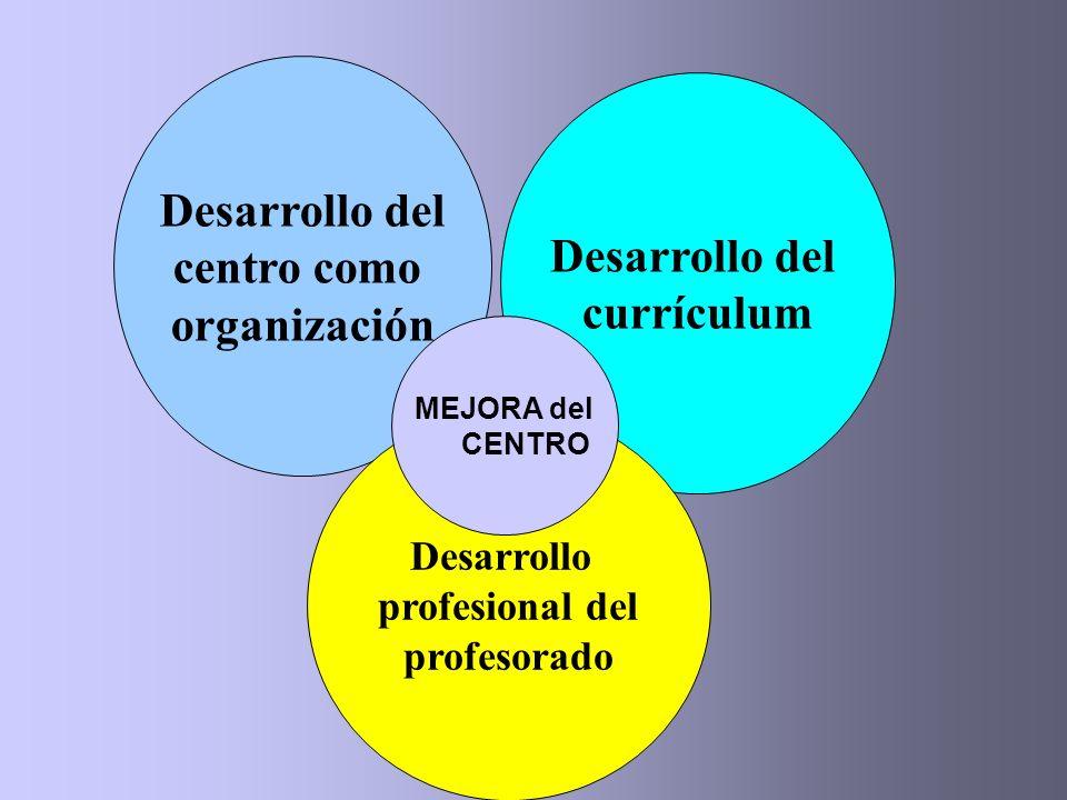 Desarrollo del centro como organización Desarrollo del currículum Desarrollo profesional del profesorado MEJORA del CENTRO