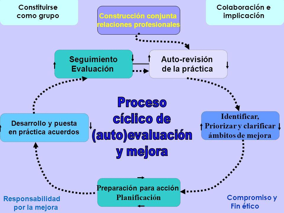 Construcción conjunta relaciones profesionales Auto-revisión de la práctica Seguimiento Evaluación Identificar, Priorizar y clarificar ámbitos de mejo