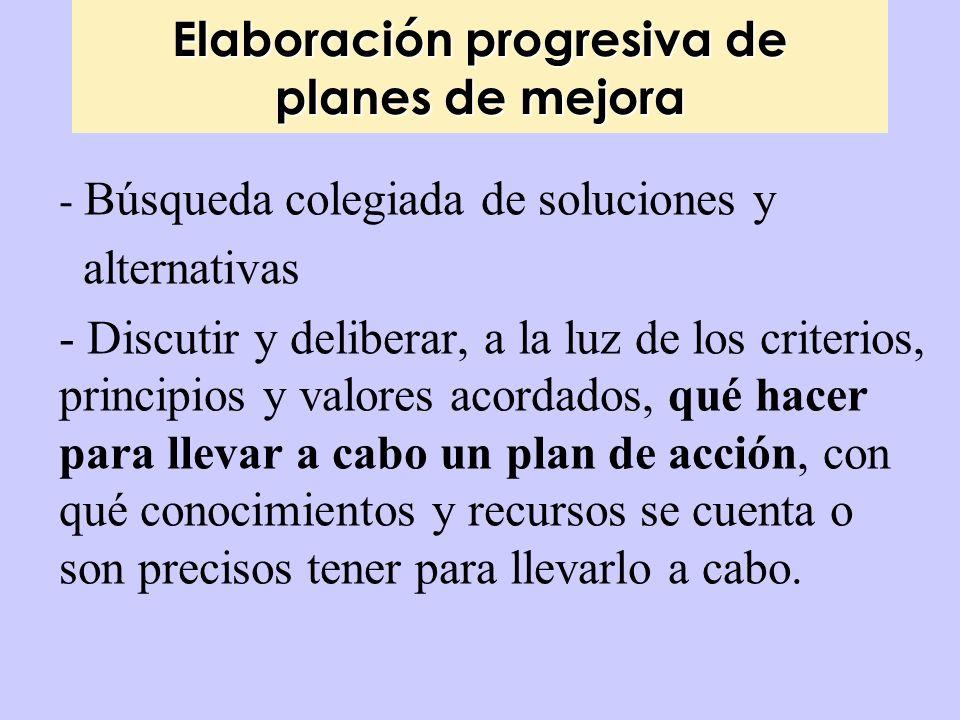 Elaboración progresiva de planes de mejora - Búsqueda colegiada de soluciones y alternativas - Discutir y deliberar, a la luz de los criterios, princi