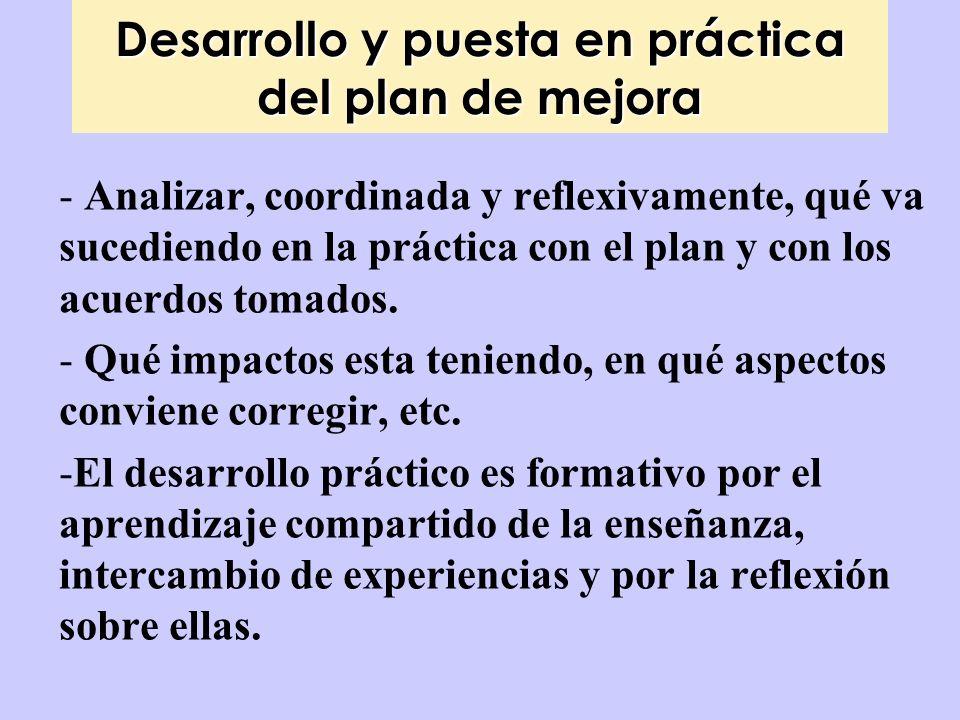 Desarrollo y puesta en práctica del plan de mejora - Analizar, coordinada y reflexivamente, qué va sucediendo en la práctica con el plan y con los acu