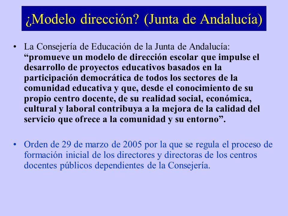 ¿Modelo dirección? (Junta de Andalucía) La Consejería de Educación de la Junta de Andalucía: promueve un modelo de dirección escolar que impulse el de