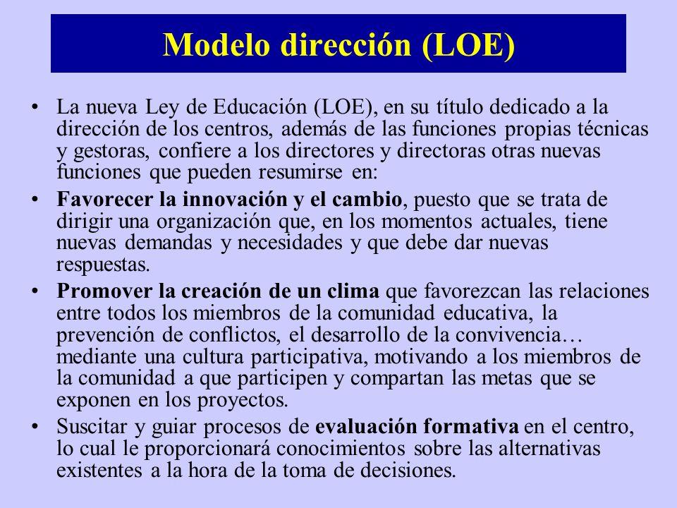 Modelo dirección (LOE) La nueva Ley de Educación (LOE), en su título dedicado a la dirección de los centros, además de las funciones propias técnicas