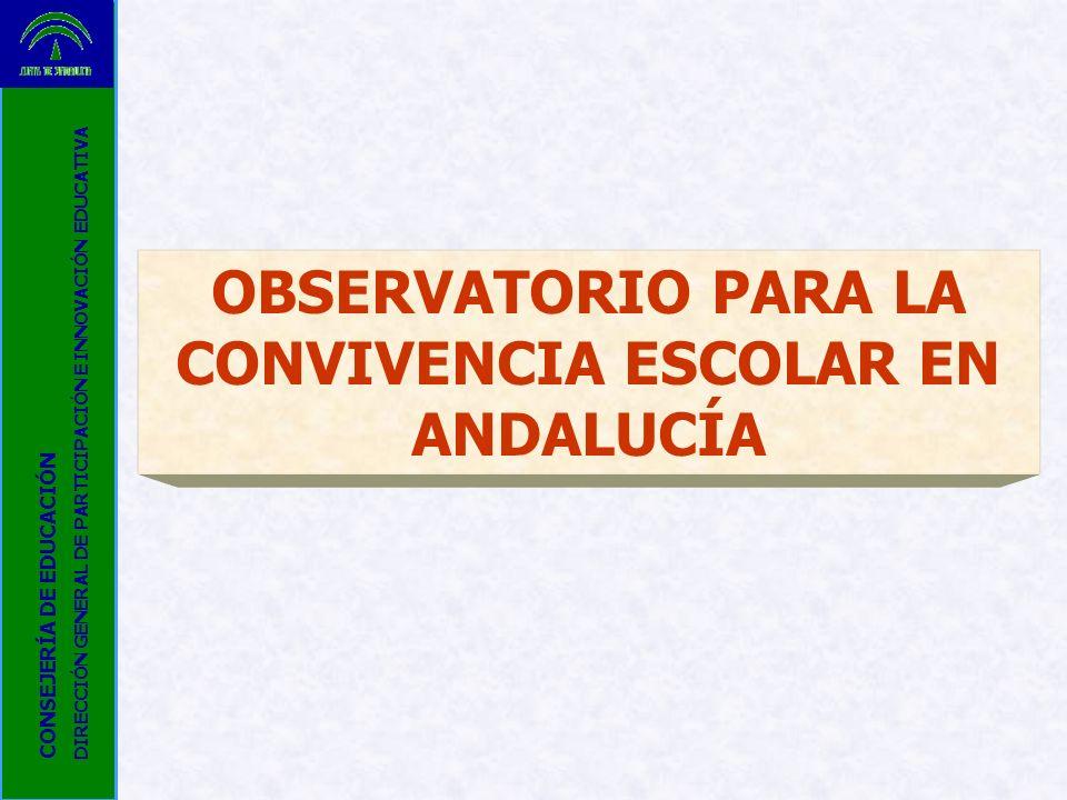 OBSERVATORIO PARA LA CONVIVENCIA ESCOLAR EN ANDALUCÍA CONSEJERÍA DE EDUCACIÓN DIRECCIÓN GENERAL DE PARTICIPACIÓN E INNOVACIÓN EDUCATIVA