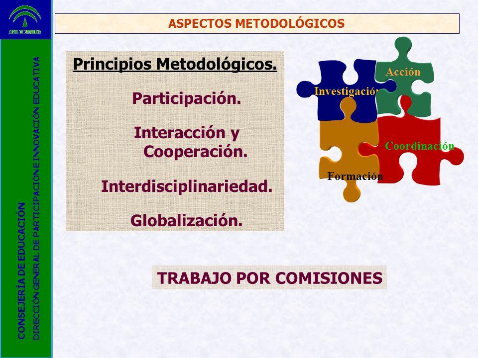 Coordinación Formación Investigación Acción ASPECTOS METODOLÓGICOS Principios Metodológicos. Participación. Interacción y Cooperación. Interdisciplina