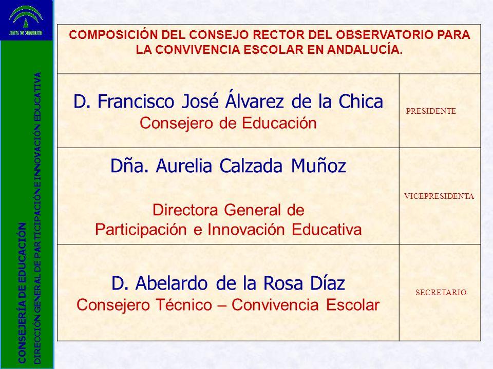 COMPOSICIÓN DEL CONSEJO RECTOR DEL OBSERVATORIO PARA LA CONVIVENCIA ESCOLAR EN ANDALUCÍA. D. Francisco José Álvarez de la Chica Consejero de Educación