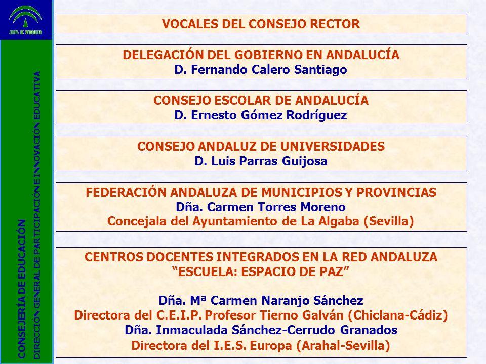 VOCALES DEL CONSEJO RECTOR DELEGACIÓN DEL GOBIERNO EN ANDALUCÍA D. Fernando Calero Santiago CONSEJO ESCOLAR DE ANDALUCÍA D. Ernesto Gómez Rodríguez CO