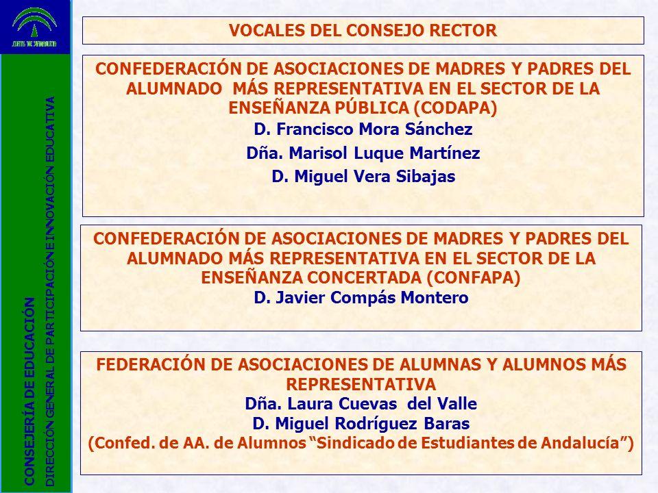 VOCALES DEL CONSEJO RECTOR CONFEDERACIÓN DE ASOCIACIONES DE MADRES Y PADRES DEL ALUMNADO MÁS REPRESENTATIVA EN EL SECTOR DE LA ENSEÑANZA PÚBLICA (CODA