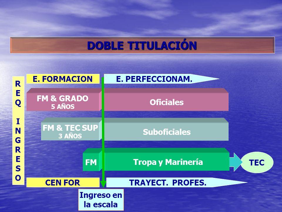 TEC Tropa y MarineríaSuboficiales Oficiales FM FM & TEC SUP 3 AÑOS FM & GRADO 5 AÑOS Ingreso en la escala E. FORMACIONE. PERFECCIONAM. REQINGRESOREQIN
