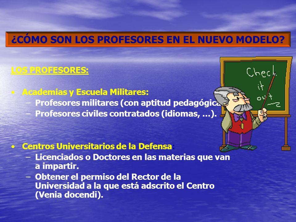 LOS PROFESORES: Academias y Escuela Militares: –Profesores militares (con aptitud pedagógica). –Profesores civiles contratados (idiomas, …). Centros U