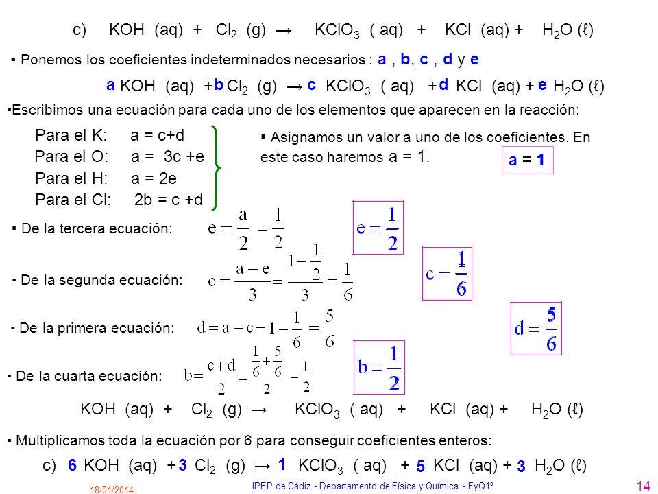 18/01/2014 IPEP de Cádiz - Departamento de Física y Química - FyQ1º 14 c) KOH (aq) + Cl 2 (g) KClO 3 ( aq) + KCl (aq) + H 2 O () Para el K: a = c+d Po