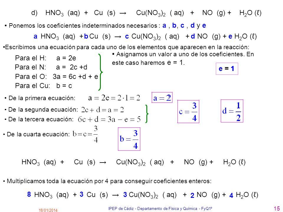 18/01/2014 IPEP de Cádiz - Departamento de Física y Química - FyQ1º 15 d) HNO 3 (aq) + Cu (s) Cu(NO 3 ) 2 ( aq) + NO (g) + H 2 O () Para el H: a = 2e