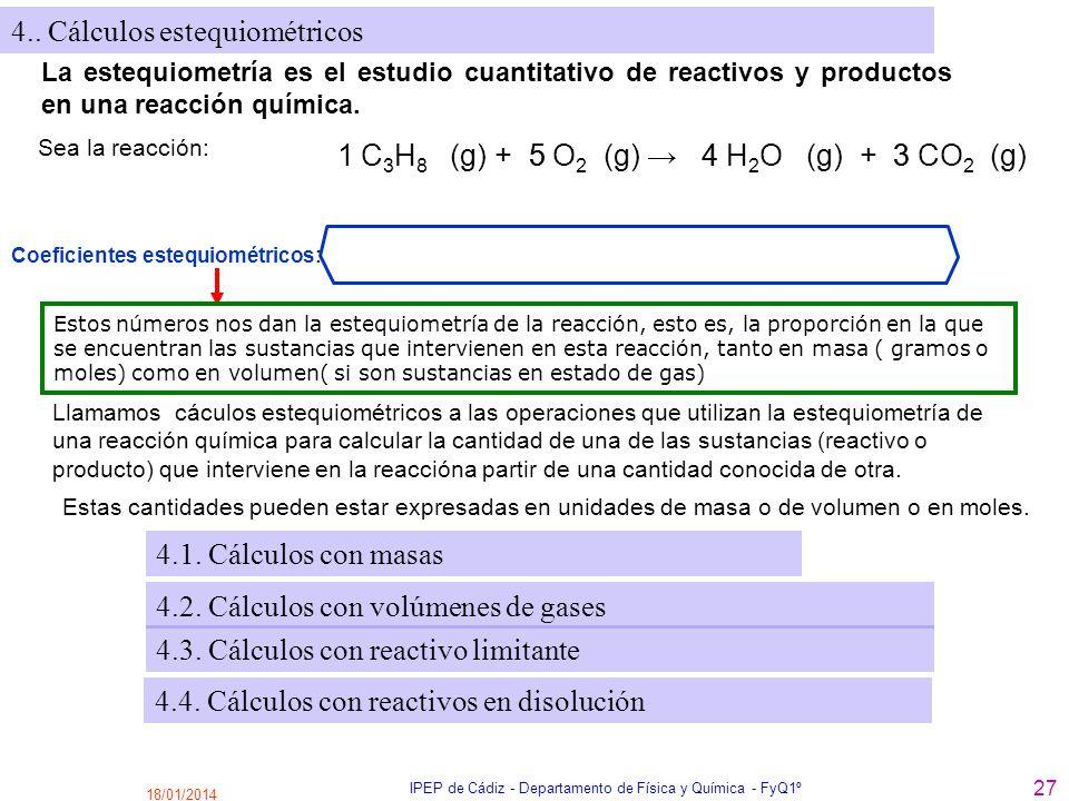 18/01/2014 IPEP de Cádiz - Departamento de Física y Química - FyQ1º 27 4.. Cálculos estequiométricos La estequiometría es el estudio cuantitativo de r
