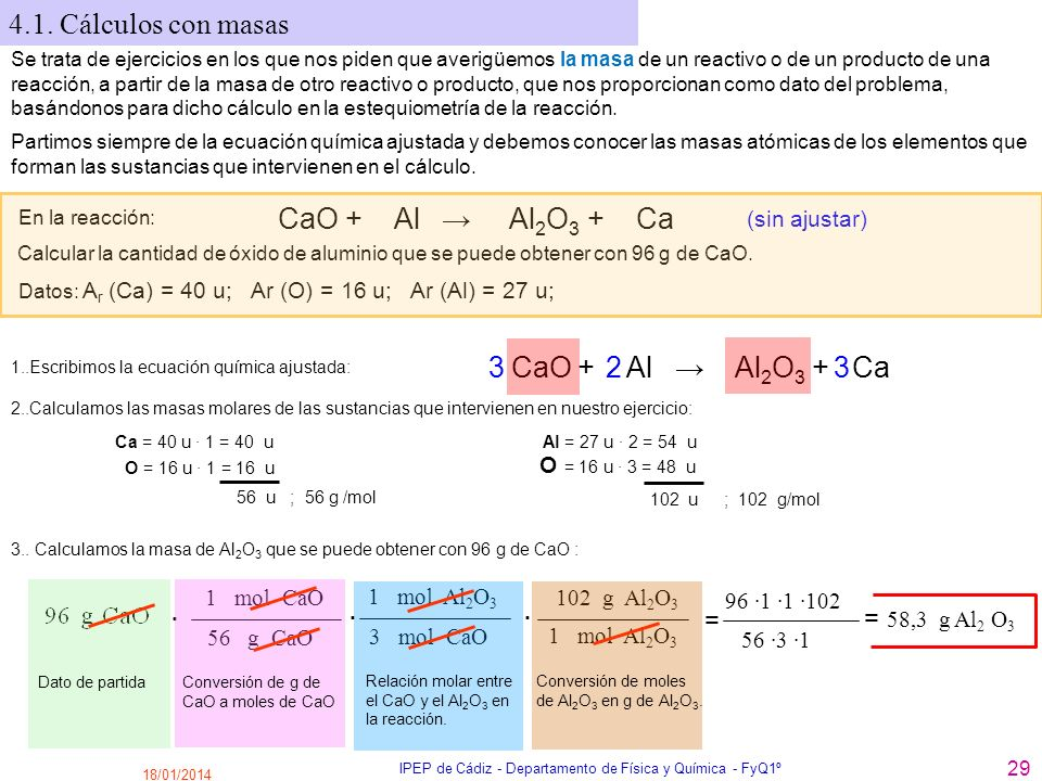 18/01/2014 IPEP de Cádiz - Departamento de Física y Química - FyQ1º 29 4.1. Cálculos con masas En la reacción: CaO + Al Al 2 O 3 + Ca (sin ajustar) Ca