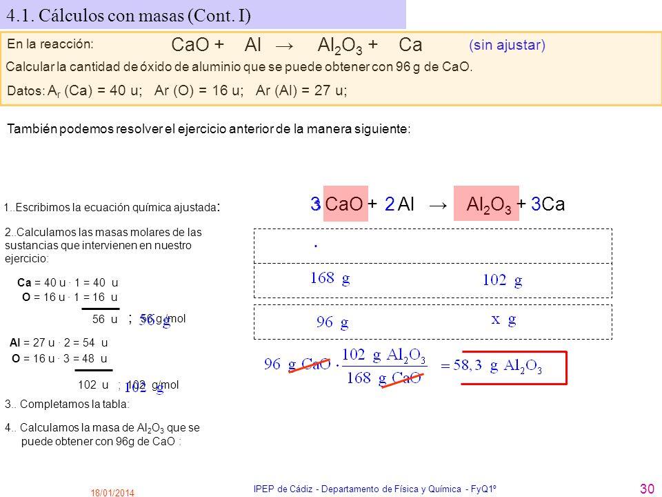18/01/2014 IPEP de Cádiz - Departamento de Física y Química - FyQ1º 30 4.1. Cálculos con masas (Cont. I) En la reacción: CaO + Al Al 2 O 3 + Ca (sin a