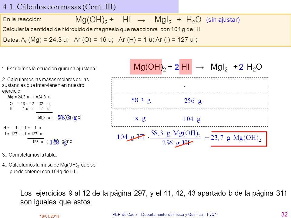18/01/2014 IPEP de Cádiz - Departamento de Física y Química - FyQ1º 32 4.1. Cálculos con masas (Cont. III) En la reacción: Mg(OH) 2 + HI MgI 2 + H 2 O