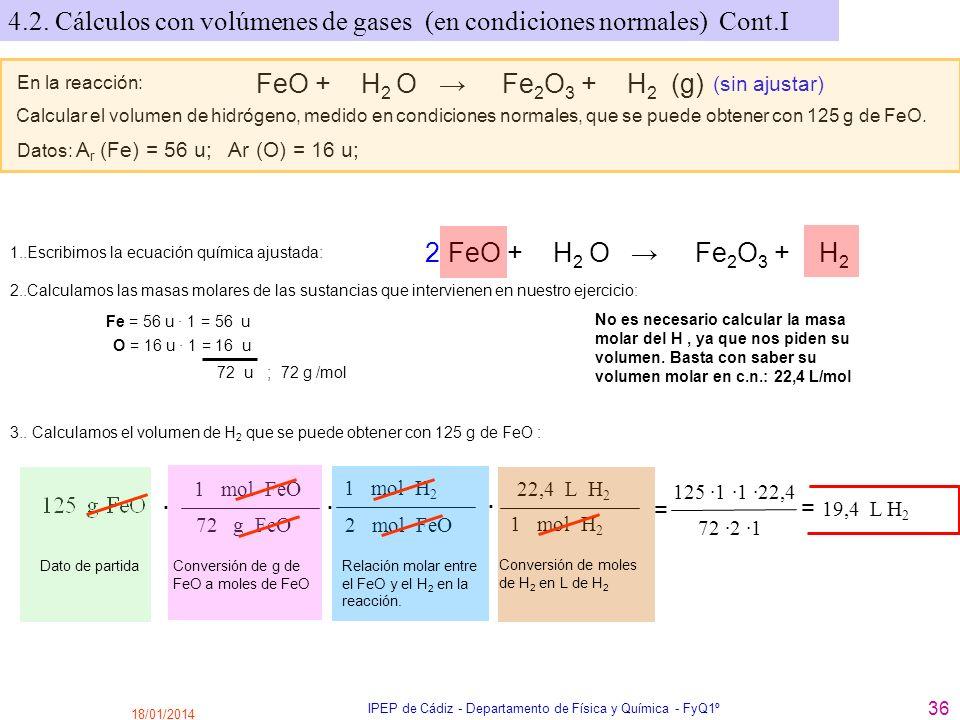 18/01/2014 IPEP de Cádiz - Departamento de Física y Química - FyQ1º 36 En la reacción: FeO + H 2 O Fe 2 O 3 + H 2 (g) (sin ajustar) Calcular el volume